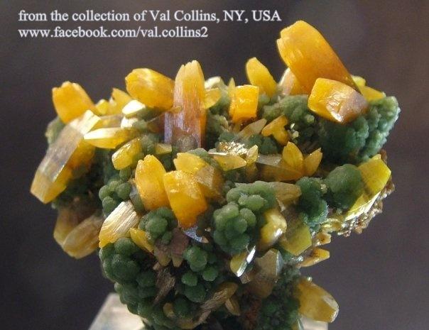 פריט נדיר של וולפנייט צהובה בהתגבשות עם מימטייט. מהאוסף של ואל קולינס, ניו-יורק. Photo: Val Collins N.Y