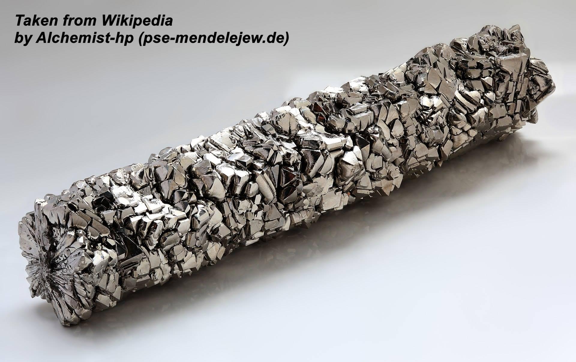 """מוט טיטניום. נלקח ברשות מ""""ויקיפדיה"""" From Wikipedia Commons  Alchemist-hp (pse-mendelejew.de"""