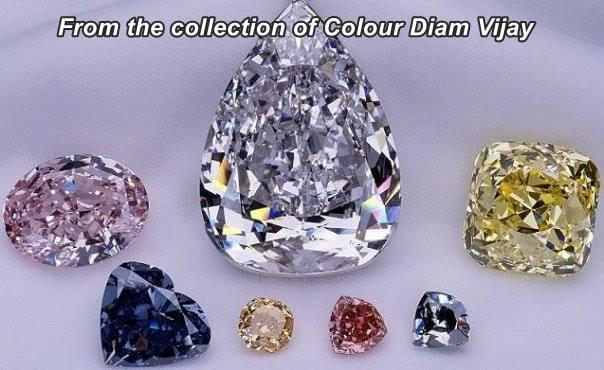 מבחר יהלומים משובצים בצבעים שונים. From the collection of Color Diam Vijay www.facebook.com/colourdiam