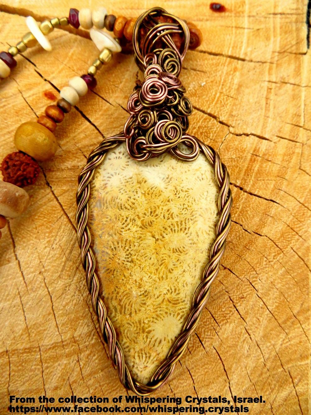 קורל מאובנת בשילוב עם אגת. משובצת בנחושת. מהאוסף של 'וויספרינג קריסטלס' www.facebook.com/whispering.crystals