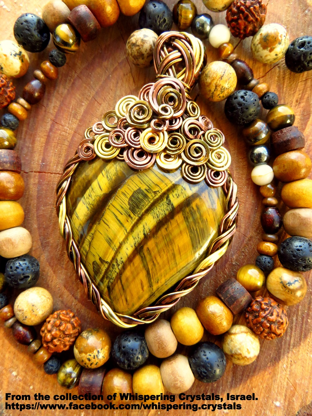 שרשרת של טייגר איי צהובה משובצת בנחושת. מהאוסף של 'וויספרינג קריסטלס' www.facebook.com/whispering.crystals