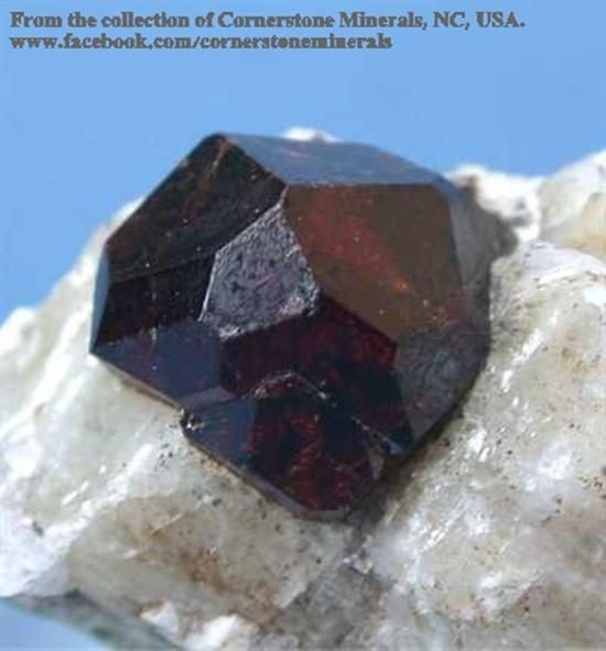 """גרנט אלמנדין על מצע של קוורץ. מהאתר של """"קורנרסטון מינרלס"""". From Cornerstone minerals  www.cornerstoneminerals.com"""