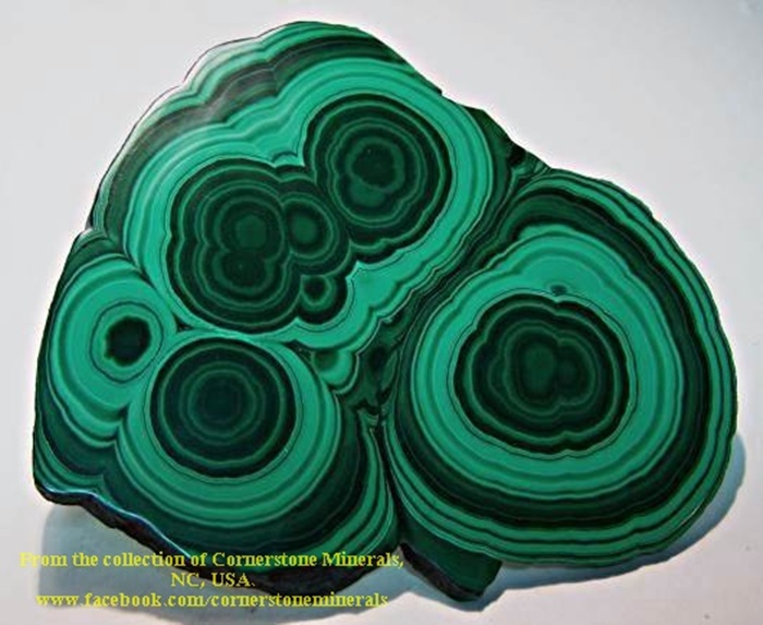 מלאכיט עין-השור: תצורות של עיגולים. From the collection of Cornerstone Minerals