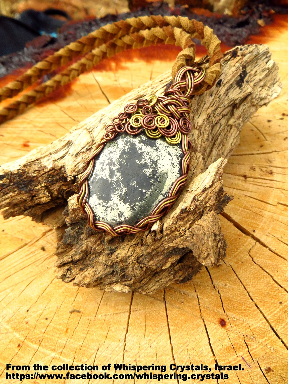 שרשרת של פיריט משובצת בנחושת. מהאוסף של 'וויספרינג קריסטלס' www.facebook.com/whispering.crystals