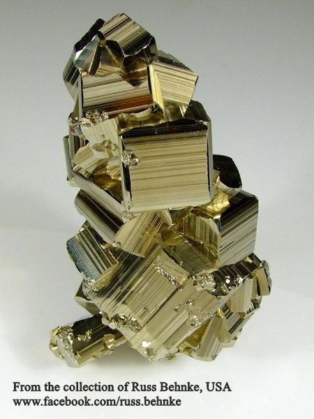 """מושבה של פיריט בתצורה קובית מחורצת. מהאוסף של ראס בהנק מארה""""ב. From the collection of Russ Behnke, USA"""